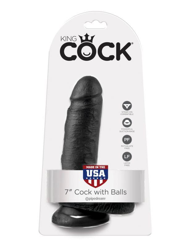 5506-23 PD / Фаллоимитатор на присоске черный King Cock 7 Cock with Balls