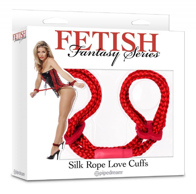 3867-15 PD / Фиксация унисекс красная Silk Rope Love Cuffs