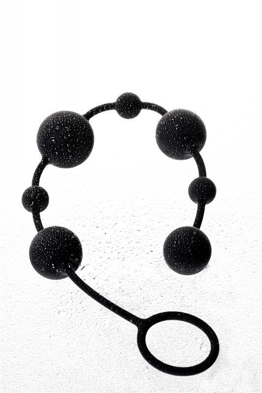 Анальная цепочка Toyfa A-toys с шариками, силикон, черный, 35,9см