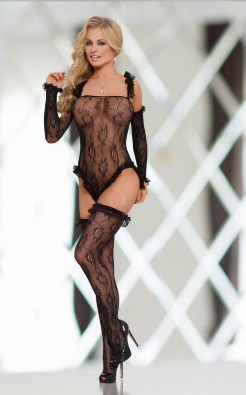Костюм-сетка SoftLine Collection Burlesque, черный, S/L