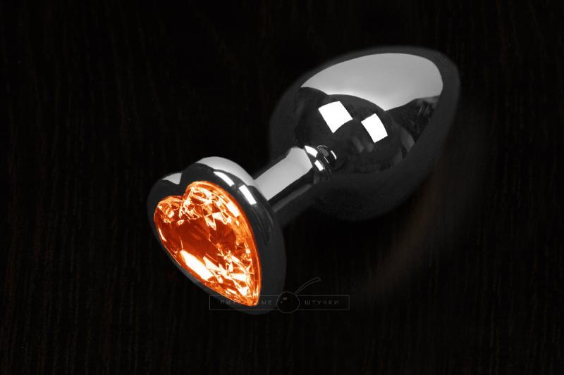 Большая анальная пробка с кристаллом в виде сердечка, серебристая - Пикантные Штучки 8,5 см
