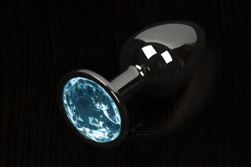 Большая анальная пробка с кристаллом, графит - Пикантные штучки, 8,5 см