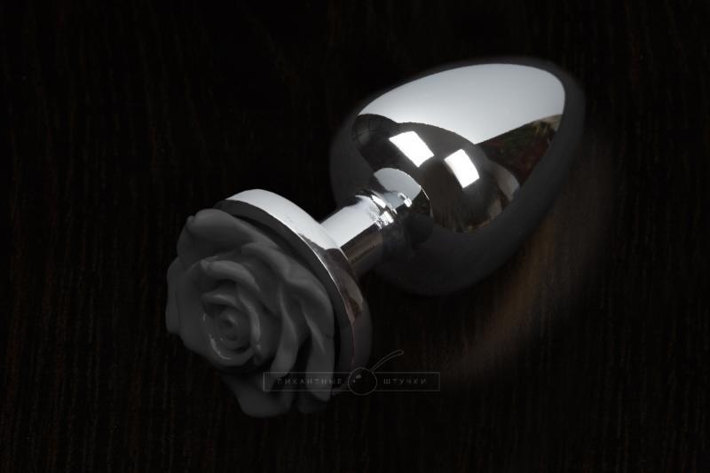 Маленькая анальная пробка с розочкой, серебристая - Пикантные Штучки, 6 см.