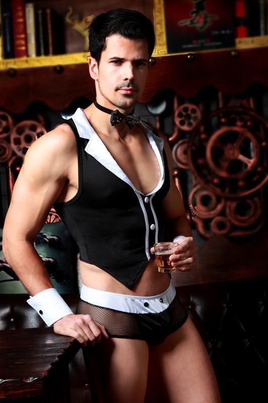 Костюм официанта Candy Boy Archer (майка, трусы, манжеты, галстук-бабочка) черно-белый, OS