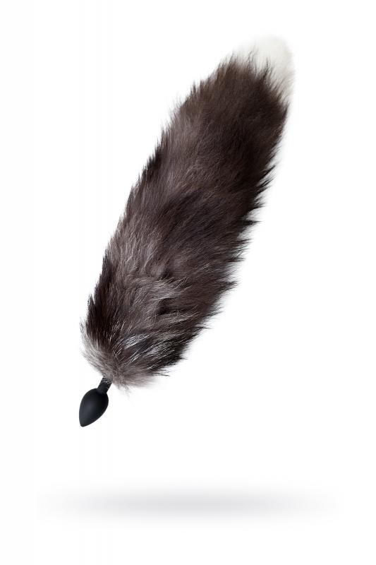 Анальная втулка с хвостом чернобурой лисы POPO Pleasure by TOYFA, S, силикон, черная, 45 см, ? 2,7 см